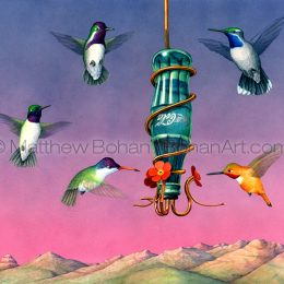 Arizona Hummingbirds (Transparent Watercolor on Arches 140lb HP Paper crop from 18 x 24 in) Private Collection
